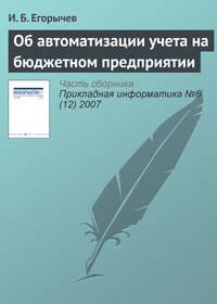 Егорычев, И. Б.  - Об автоматизации учета на бюджетном предприятии
