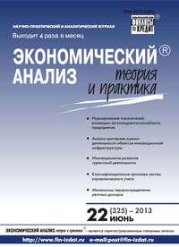 Отсутствует - Экономический анализ: теория и практика № 22 (325) 2013