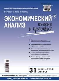 Отсутствует - Экономический анализ: теория и практика &#8470 31 (382) 2014