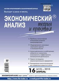 Отсутствует - Экономический анализ: теория и практика № 16 (415) 2015