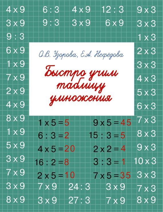 О. В. Узорова Быстро учим таблицу умножения горбачева н ред учим таблицу умножения для начальной школы