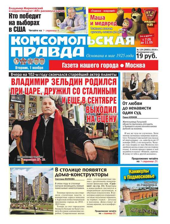 Редакция газеты Комсомольская Правда. Москва Комсомольская Правда. Москва 124-2016