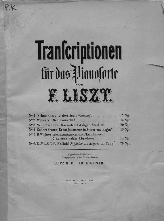 Ференц Лист Mendelssohn's Wasserfahrt & Jager Abschied fur das Pianoforte ubertragen v. F. Liszt kafka f das schloss