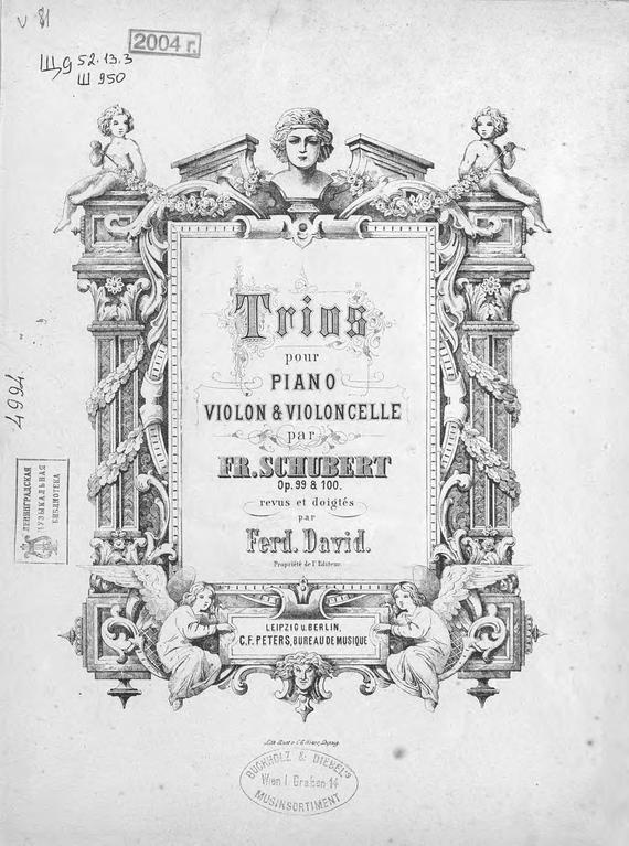 Франц Петер Шуберт Trios pour piano, violon et violoncelle par Fr. Schubert хохлов ю н франц шуберт переписка записи дневники стихотворения
