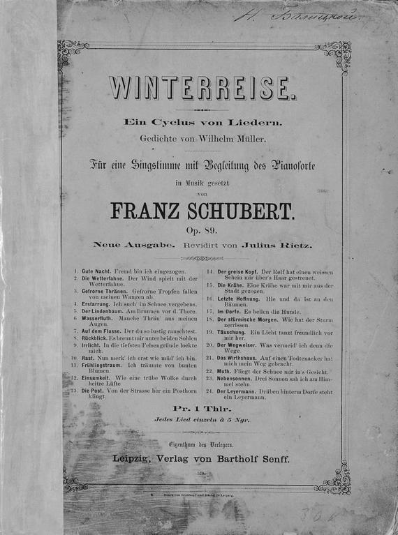 Франц Петер Шуберт Winterreise хохлов ю н франц шуберт переписка записи дневники стихотворения