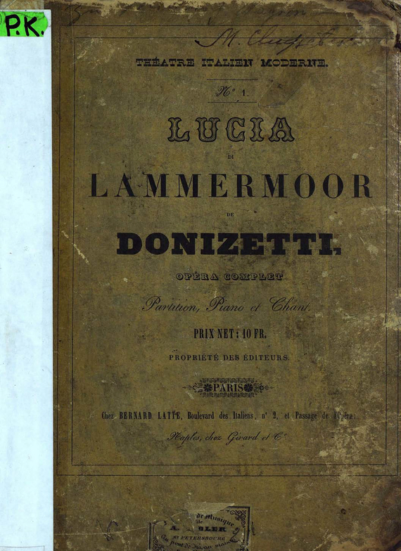 Гаэтано Доницетти Lucia di Lammermoor de G. Donizetti лосьон лосьон mac l s fix 100ml