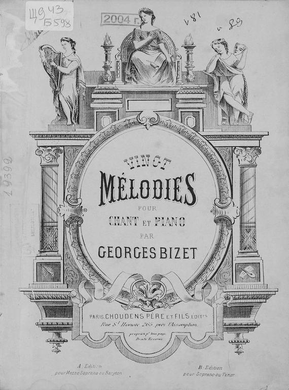 Жорж Бизе Vingt melodies pour chant et piano chant