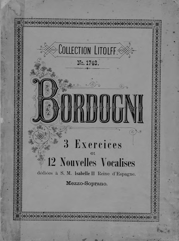 Марко Бордоньи 3 exercices et 12 nouvelles vocalises pour Mezzo-Soprano de Marco Bordogni