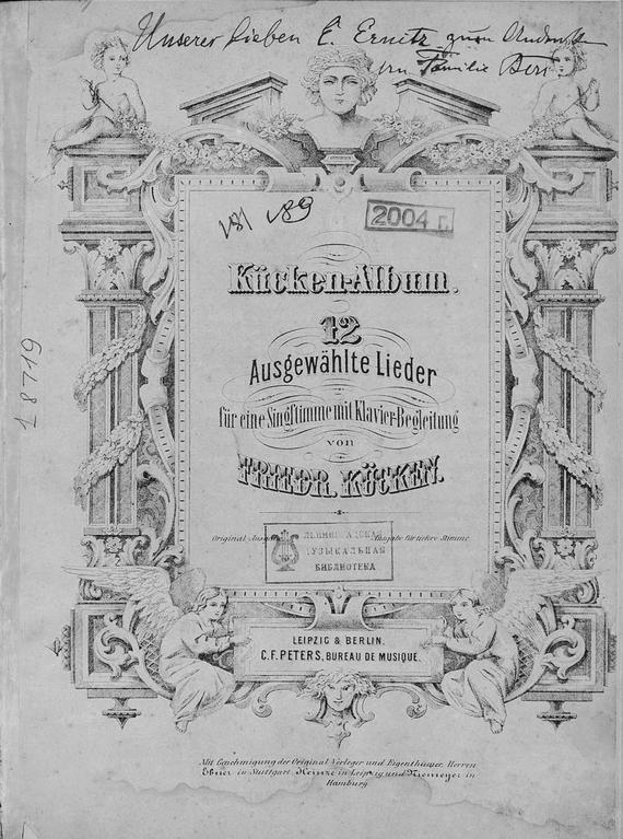 12 Ausgewahlte Lieder fur eine Singstimme mit Klavier-Begleitung v. Friedr. Kucken