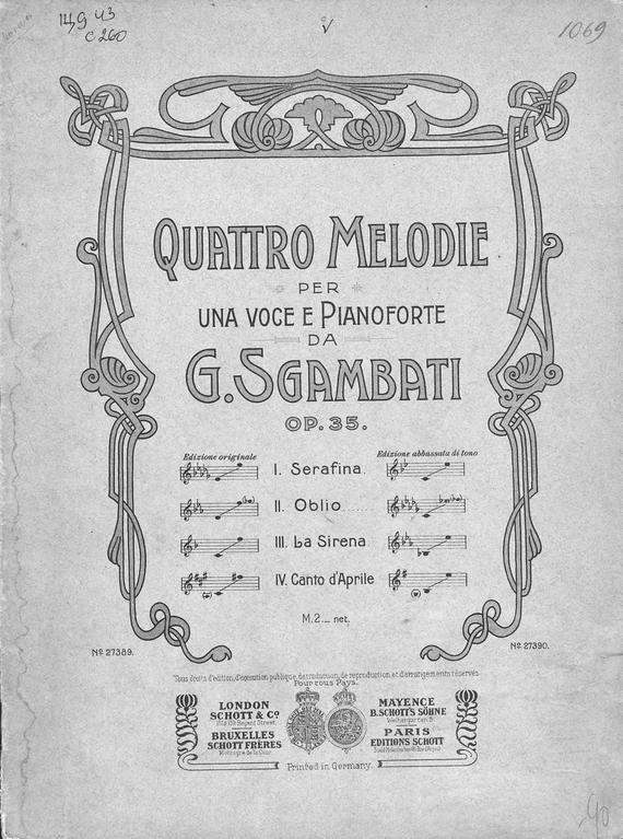 все цены на Джованни Сгамбати Quattro Melodie per una voce e Pianoforte da G. Sgambati онлайн