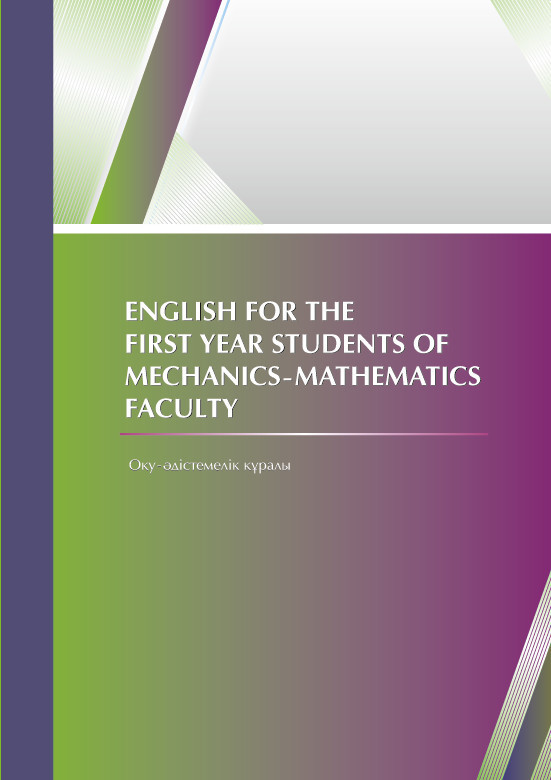 Шолпан Омарова English for the first year students of mechanics-mathematics faculty teaching mathematics in kenya