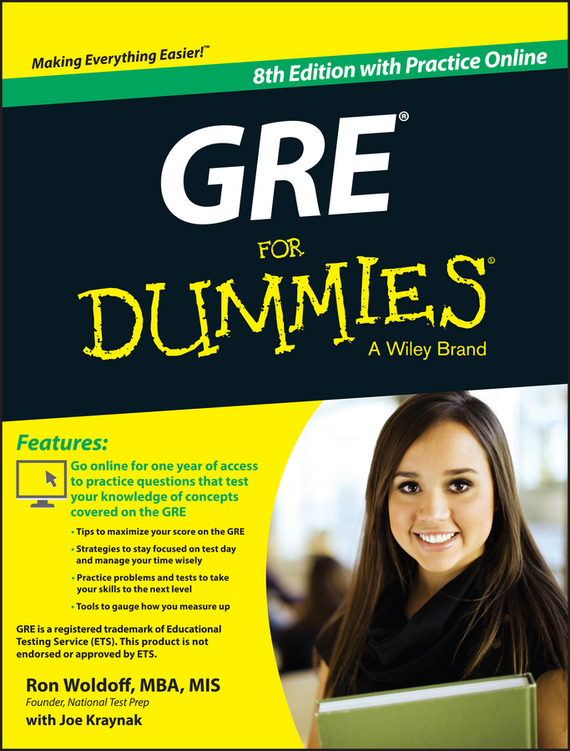 Ron Woldoff GRE For Dummies. with Online Practice Tests steven rice m 1 001 series 7 exam practice questions for dummies