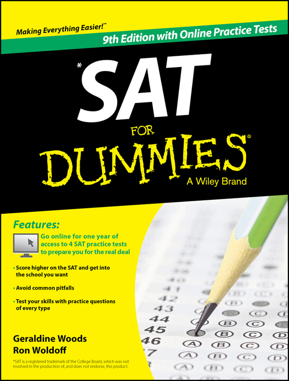 Geraldine Woods SAT For Dummies, with Online Practice arthur hsieh emt exam for dummies with online practice