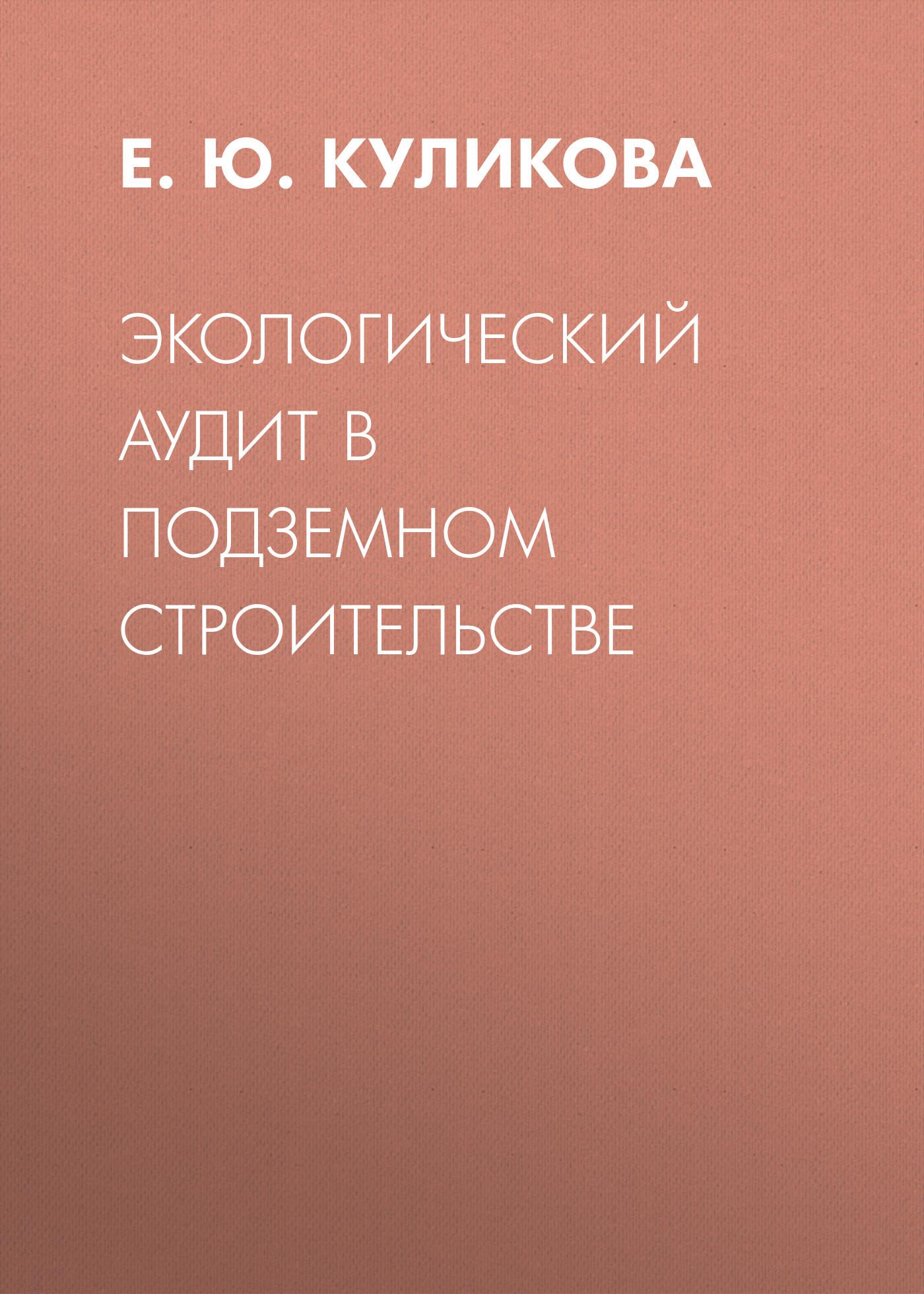 Е. Ю. Куликова. Экологический аудит в подземном строительстве