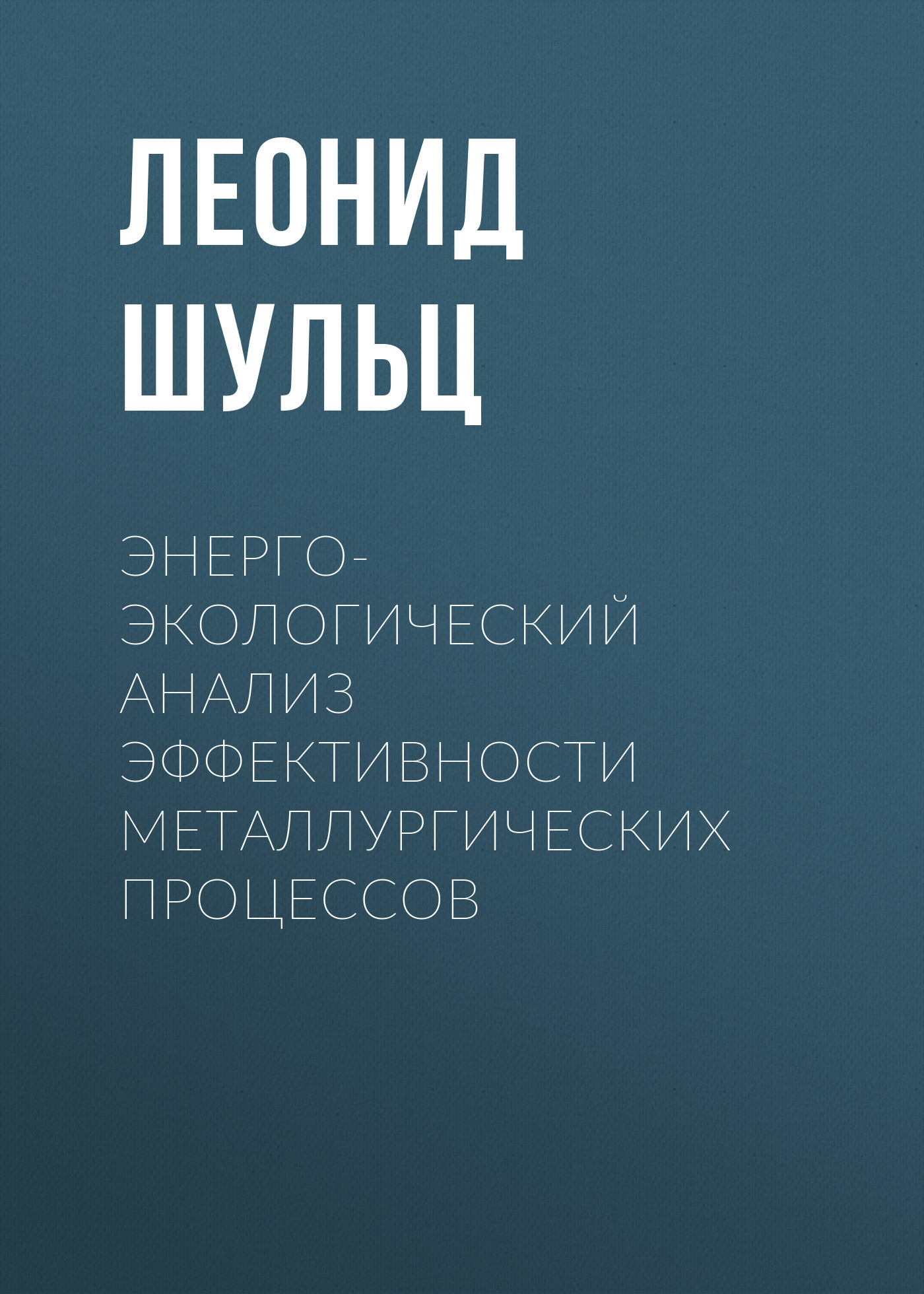 Леонид Шульц Энерго-экологический анализ эффективности металлургических процессов