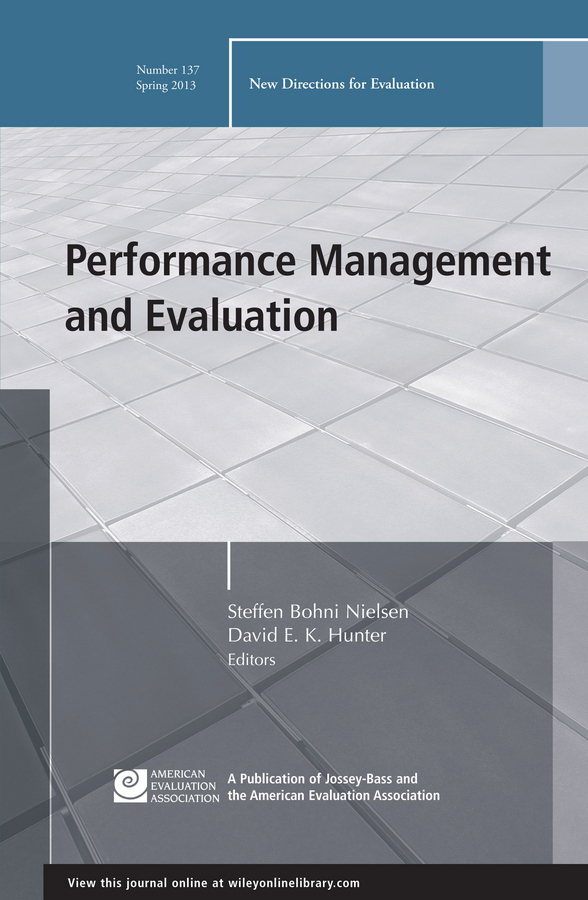 Nielsen Steffen Bohni Performance Management and Evaluation. New Directions for Evaluation, Number 137 ISBN: 9781118646519 performance evaluation of cryptographic algorithms