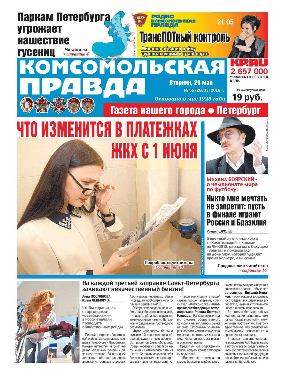 Редакция газеты Комсомольская правда. Санкт-Петербург Комсомольская Правда. Санкт-Петербург 56-2018