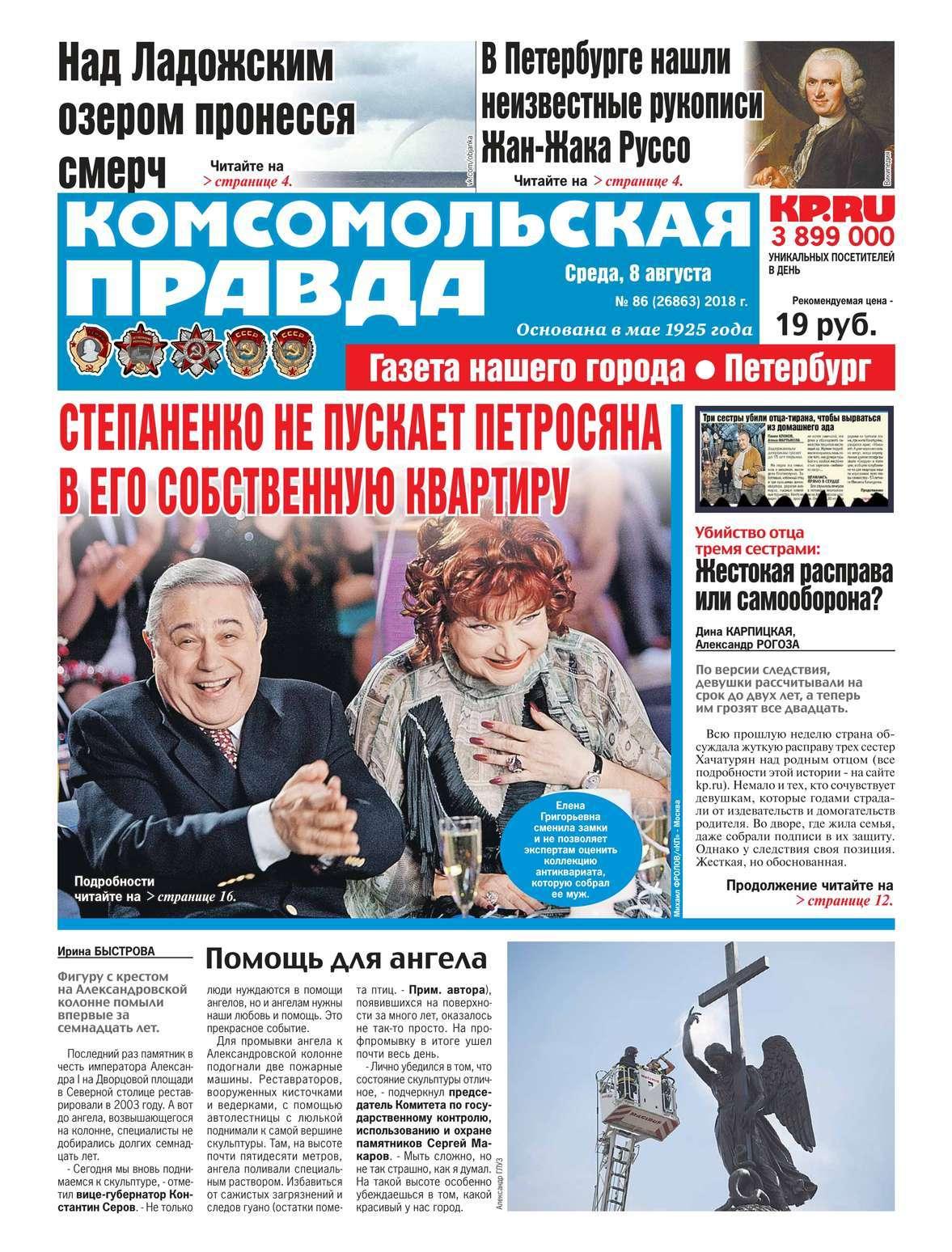 Редакция газеты Комсомольская Правда. Санкт-Петербург Комсомольская Правда. Санкт-Петербург 86-2018